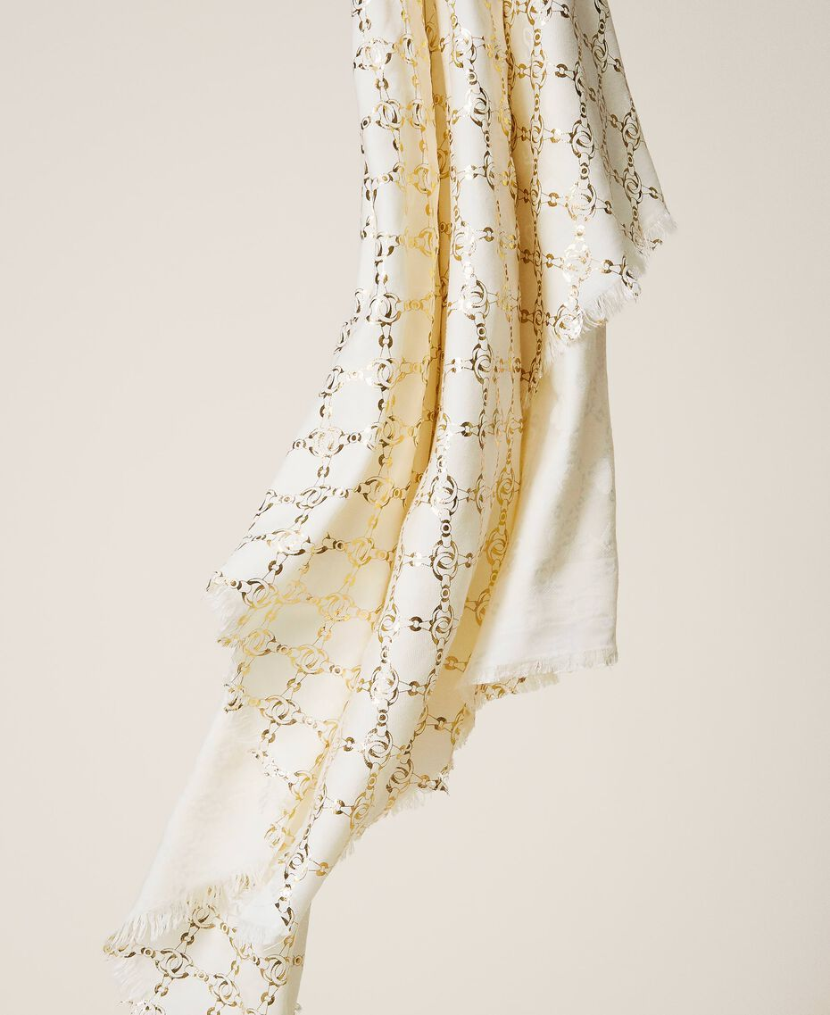 Jacquard kefiah with chain print Parchment White Woman 202TO5109-03