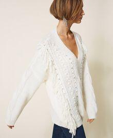 Maxijersey de lana y alpaca con bordado Blanco Nata Mujer 202TT3355-03