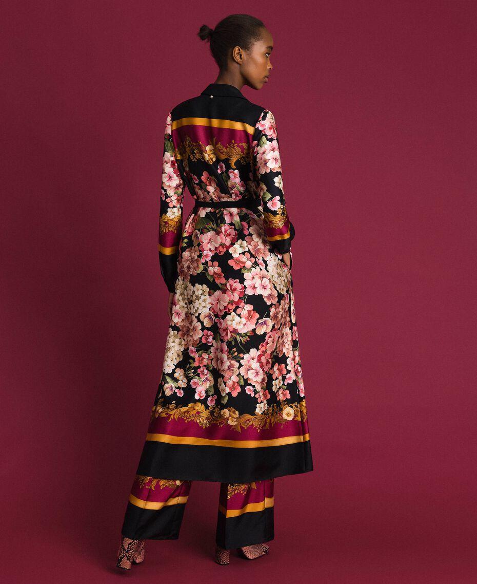 Langes Hemdblusenkleid mit floralem Foulardprint Foulardprint Frau 192TP2604-05