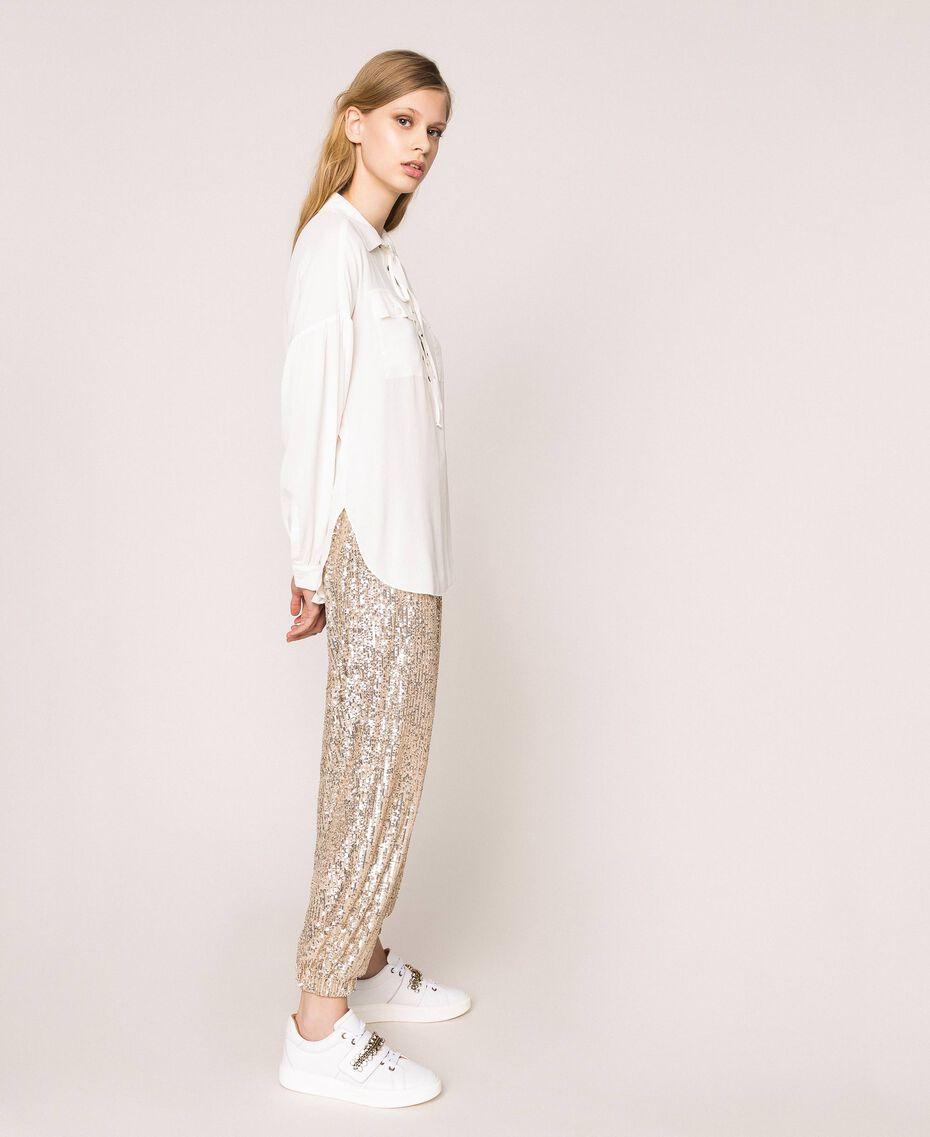 Рубашка из смесового шелка на декоративной шнуровке Белый Снег женщина 201TP2508-03