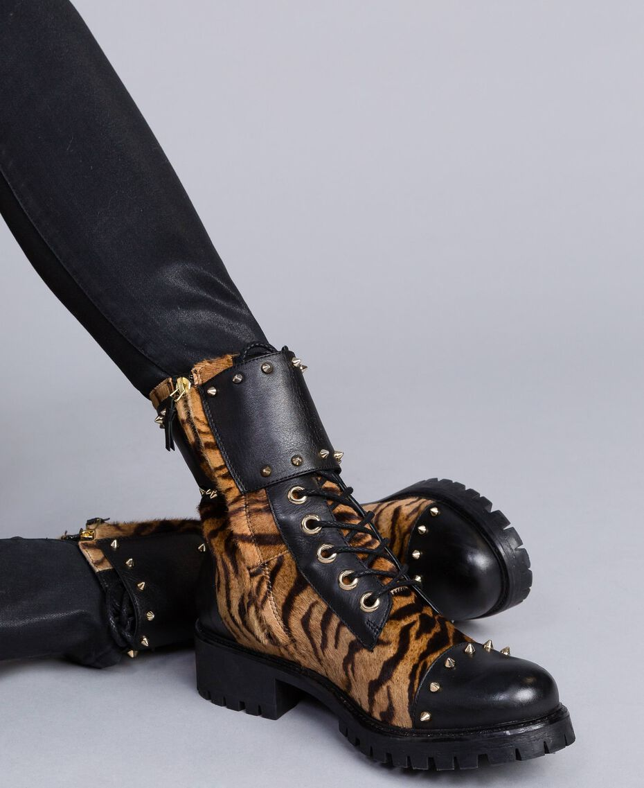 Leather combat boots with animal print inserts Tiger Print Woman CA8TEJ-0S