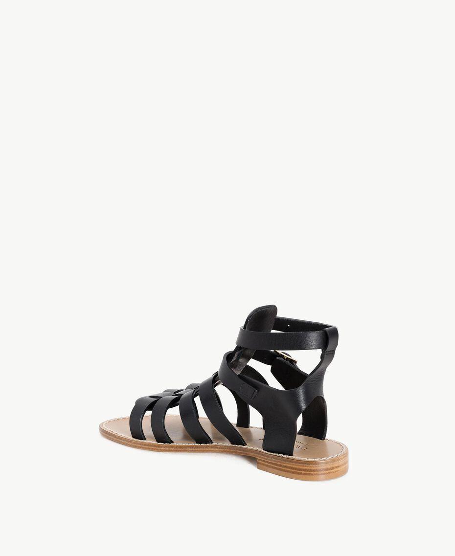 TWINSET Sandale aus Leder Schwarz Frau CS8TEE-03