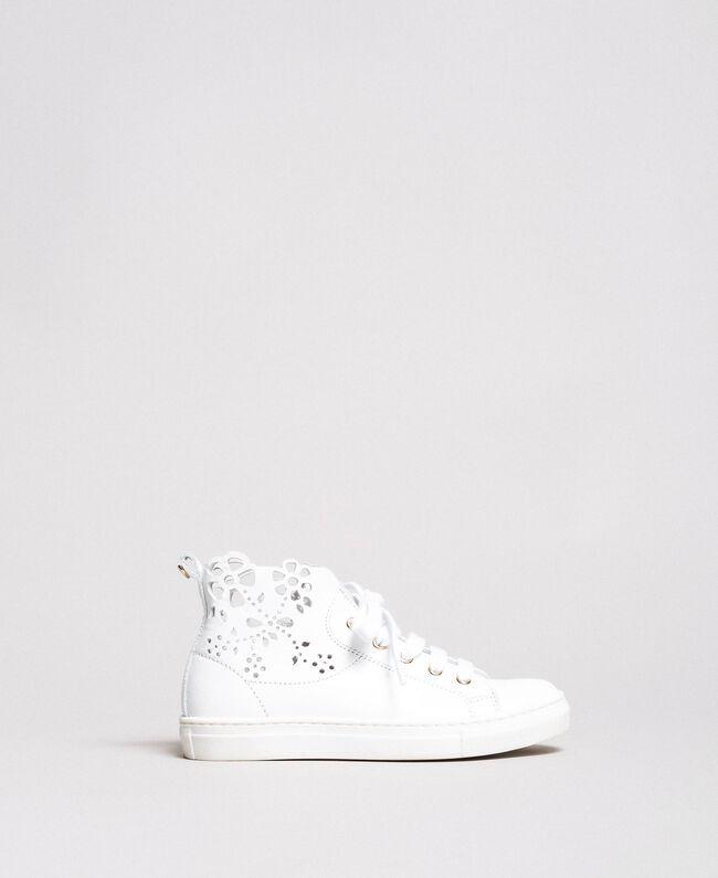 Nappa-Sneakers mit perforierten Details Weiß Kind 191GCJ172-01