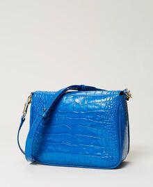 "Leather shoulder bag with crocodile print ""Nautical Blue"" Croc Print Woman 211TD8033-02"