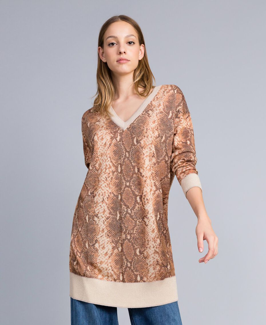 Maxi maglia in misto lana animalier Stampa Chocolate Snake Donna PA83KB-01