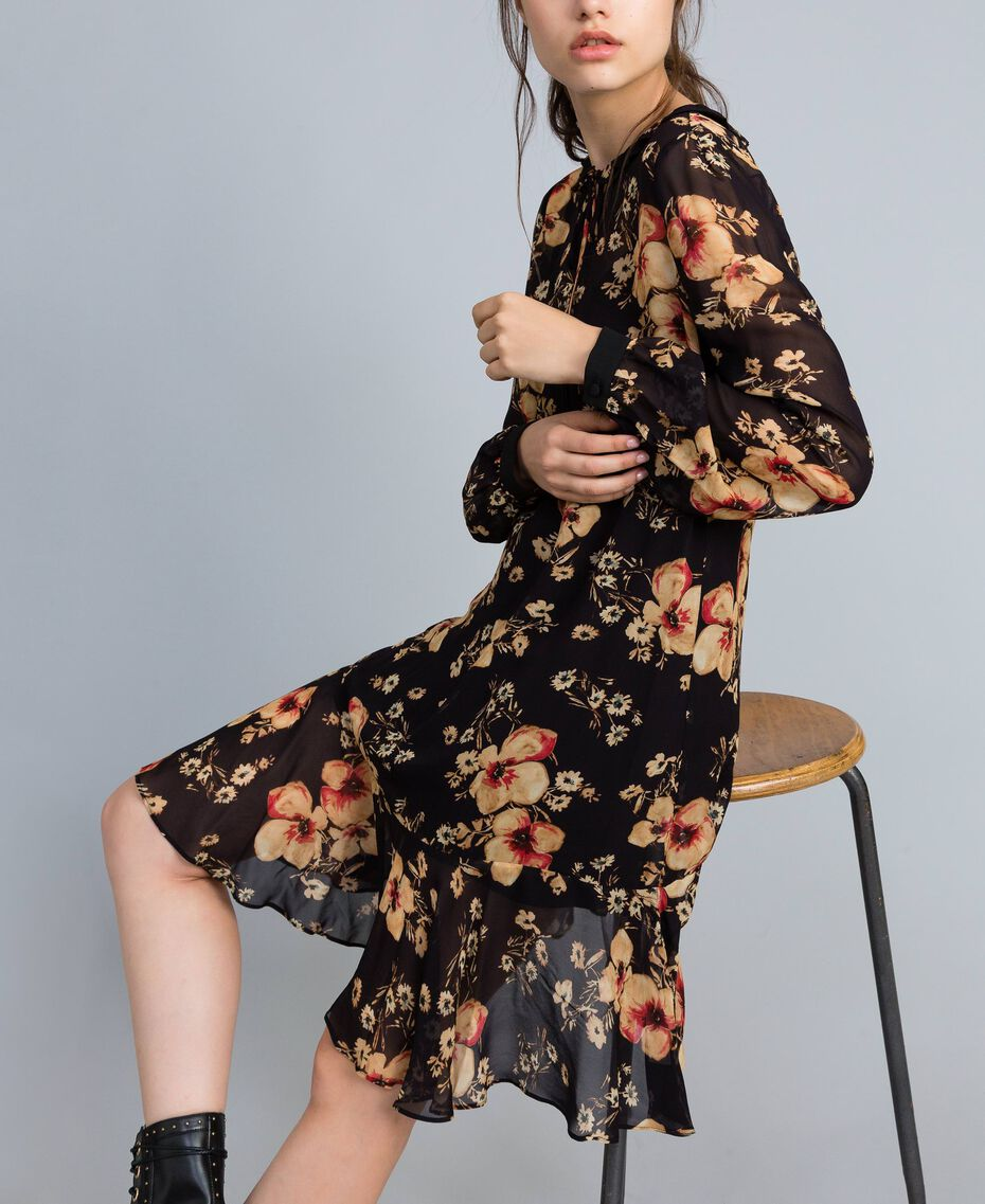 Floral print georgette dress All Over Bouquet Print Woman TA825F-02