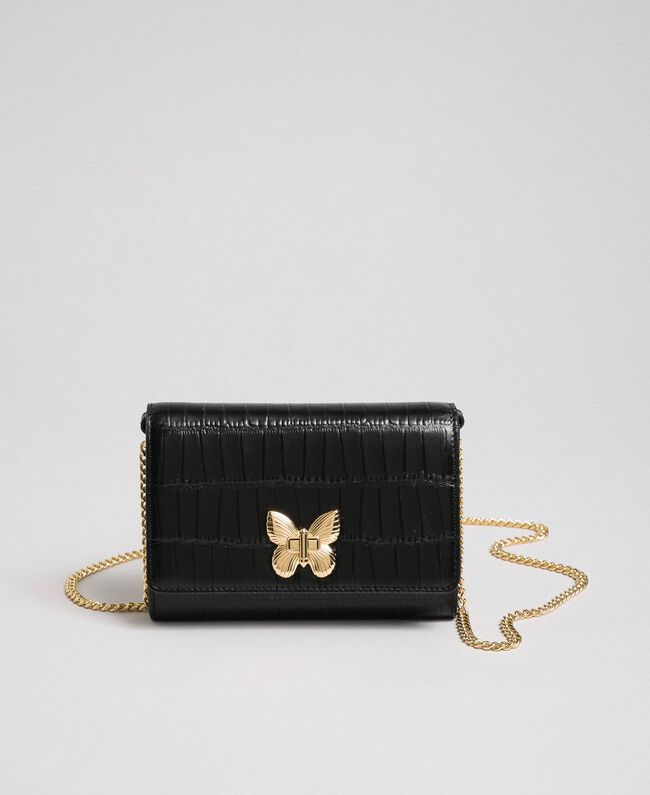Small printed leather shoulder bag Black Woman 192TO8043-01