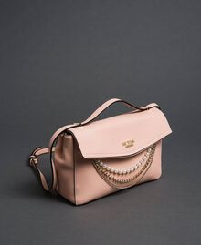 """Faux leather shoulder bag with pearls and chains """"Pale Pink"""" Woman 192MA7050-01"""