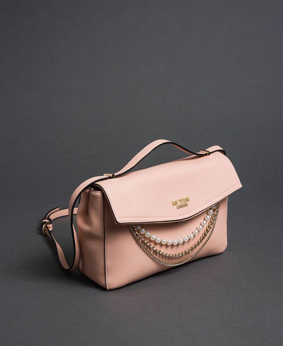 Sac à bandoulière en similicuir avec perles et chaînes Rose Pâle Femme 192MA7050-01