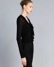Cardigan en laine mélangée avec mélange de points Noir Femme PA83C2-03