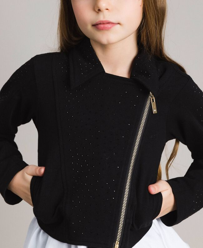 Fleece biker jacket with rhinestones Black Child 191GJ2460-04