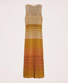 Vestido largo de tejido de lúrex de rayas Rayas Multicolor Oro Mujer 201TT3091-0S