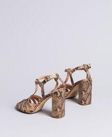 Sandales en cuir animalier Marron Python Roche Femme CA8PQ3-03