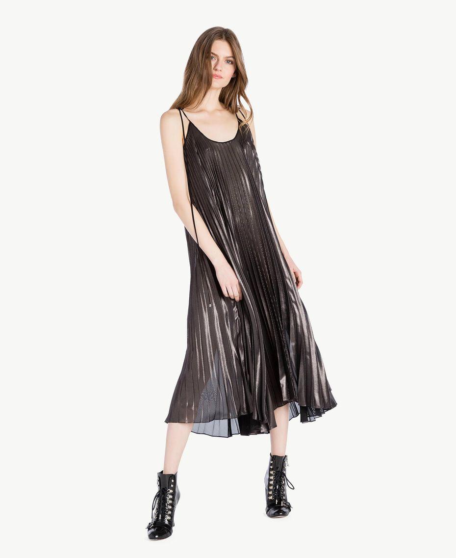 "Long pleated dress Metallic ""Gunmetal"" Black Woman PS82QP-02"