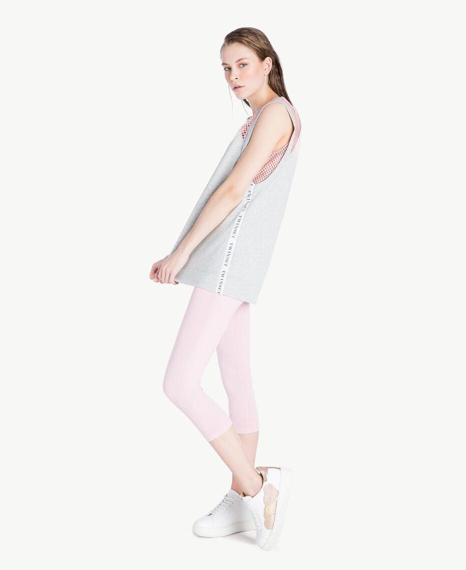 Trägerhemd mit Herz Zweifarbig Meliertes Mittelgrau / Pinkie Sugar Frau LS87CC-03
