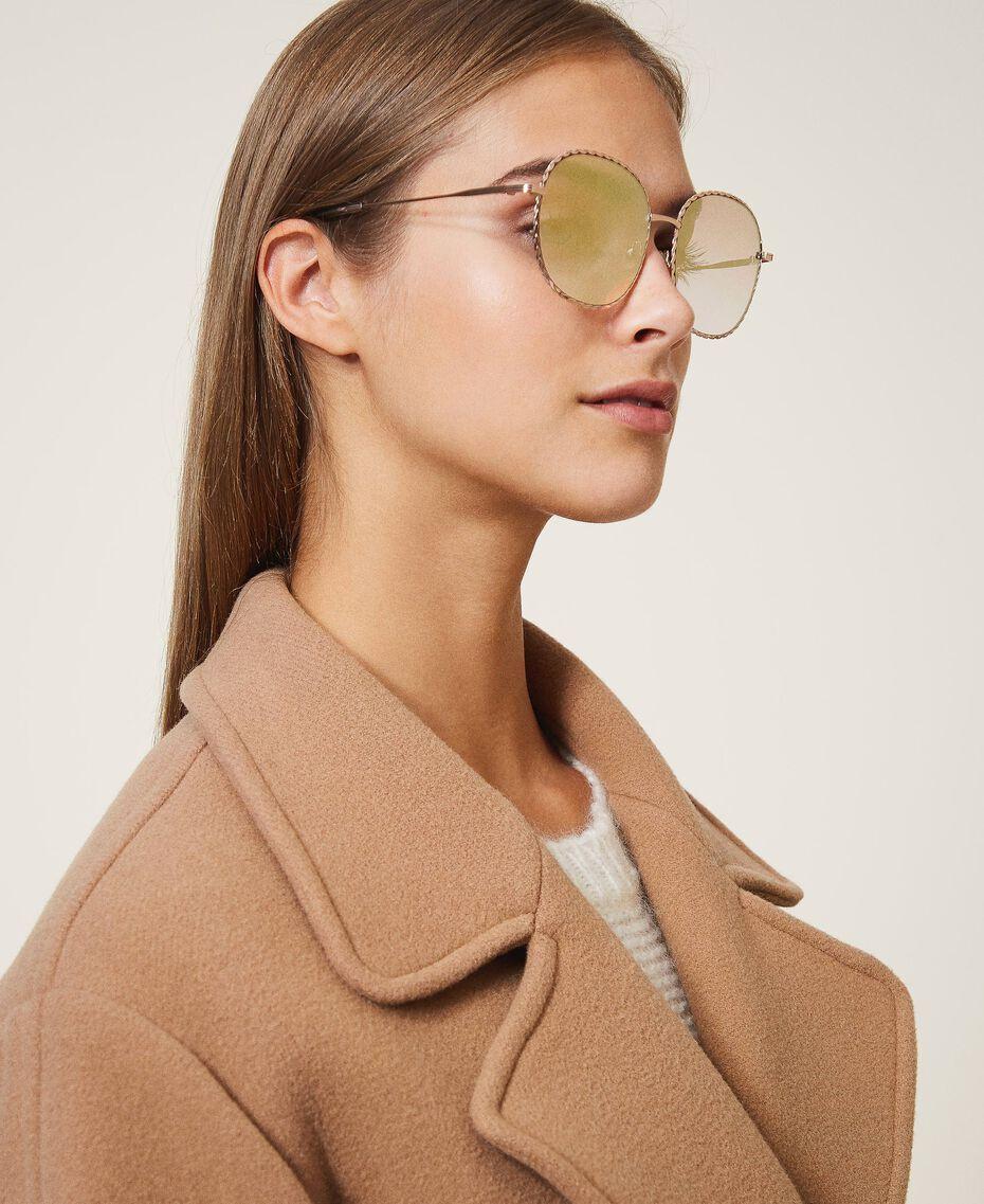 Runde Sonnenbrille Gold Gelb Frau 999TZ4013-0S