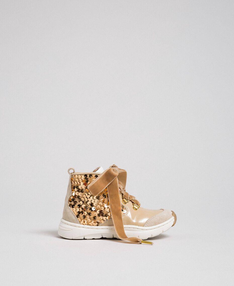"""Sneakers in pelle con paillettes Beige """"Farro"""" Bambina 192GCB054-02"""