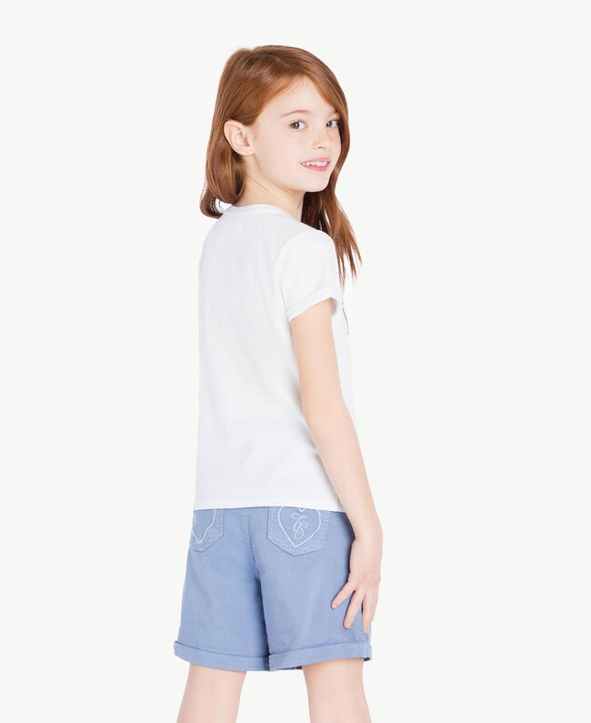 "Printed T-shirt ""Papers"" White Child GS82A1-04"