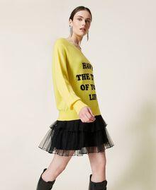 Maxi maglia e abito sottoveste in tulle Bicolor Sunny Yellow / Nero Donna 212AP3120-03