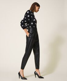 High waist faux leather trousers Black Woman 202TP2061-03