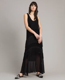 Long satin and chiffon dress with fringes Black Woman 191LM2BDD-01