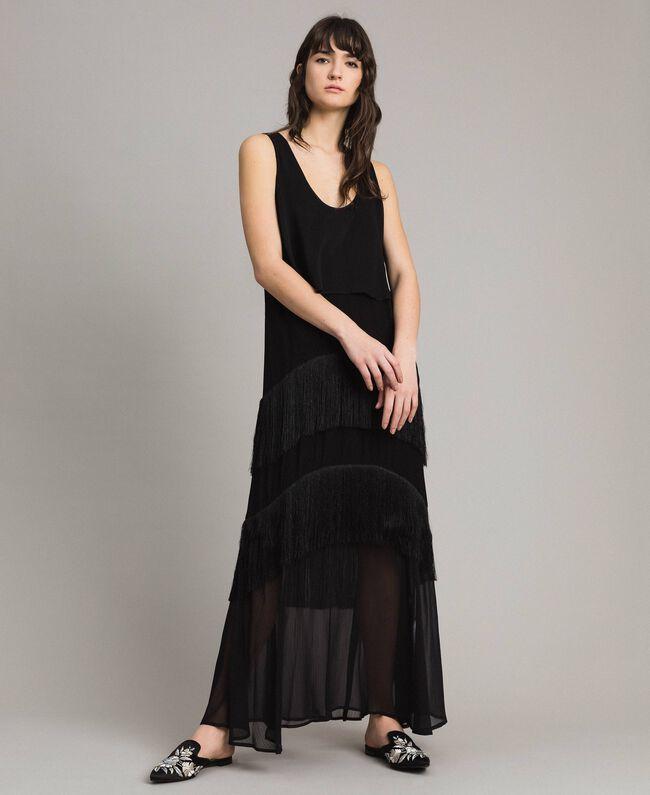 Robe longue en satin et mousseline avec franges Noir Femme 191LM2BDD-01