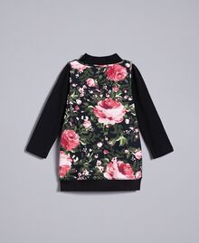 Jersey mock neck jumper and maxi top Black with Pink Rose Print Child FA82LA-0S