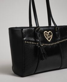 Faux leather shopping bag with studs and tassel Black Woman 192MO8010-02