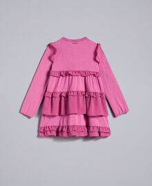 Kleid aus Georgette mit Volants Rosa Bouganville Kind FA82H1-0S