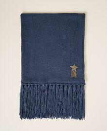 Écharpe avec patch d'étoile et franges Bleu «True Navy» Femme 202TA440C-01