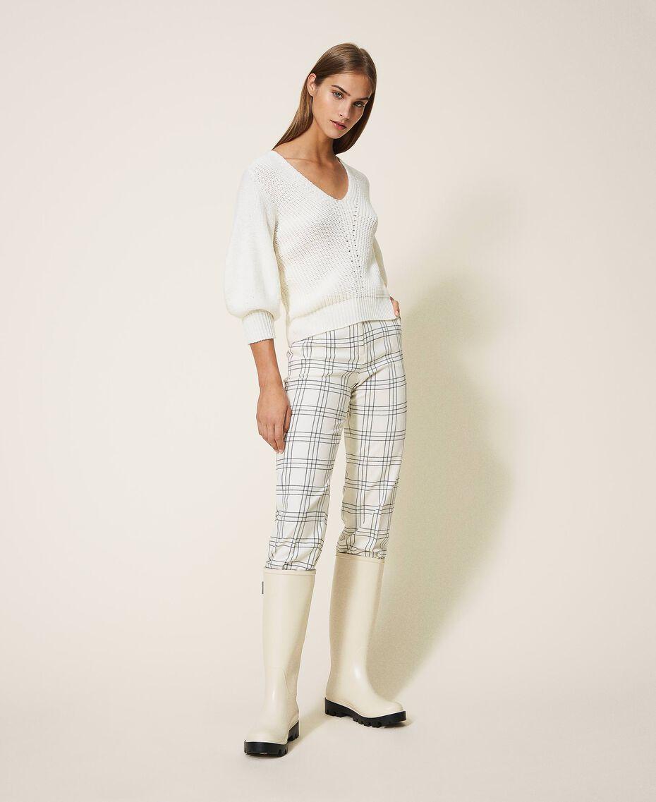 Pantalon cropped en laine mélangée à carreaux Carreaux Bicolore Blanc «Neige» / Noir Femme 202TP254C-01