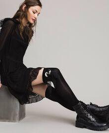 Chaussettes en coton mélangé avec broche Noir Femme 191TA4343-0S