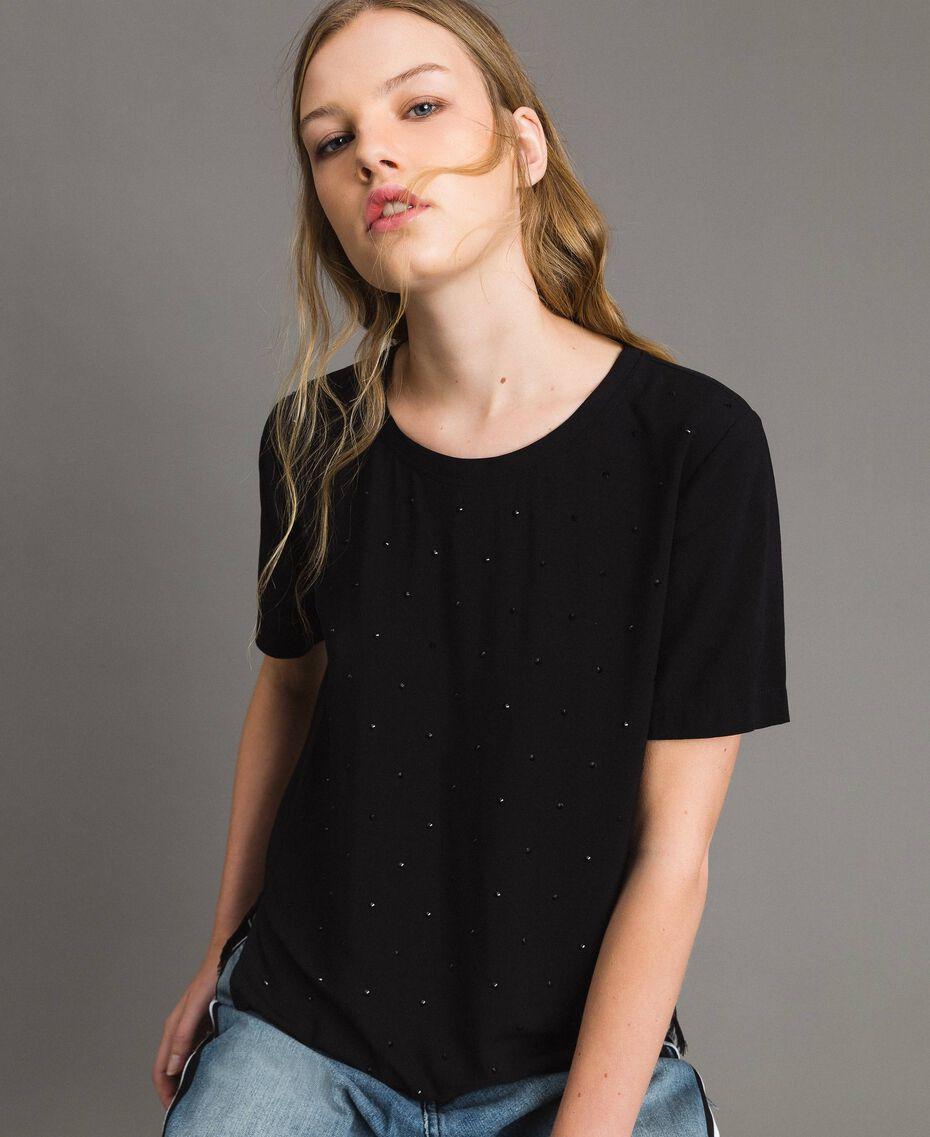 Rhinestones and lace blouse Black Woman 191MP2451-01