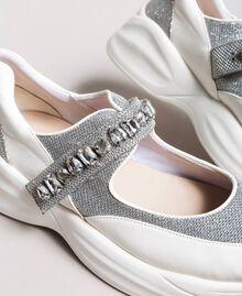 Baskets running avec pierres Crème White Femme 191MCP03C-05