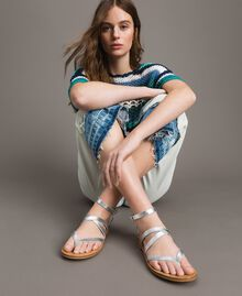 Laminated leather sandals with straps Silver Woman 191TCT09W-0S