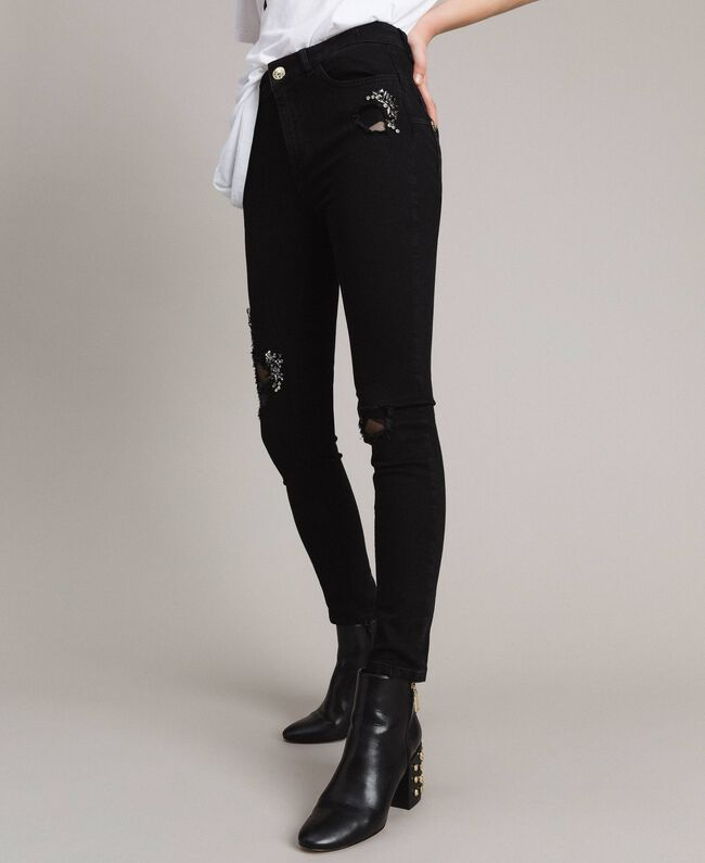 Skinny jeans with tulle patches and embroideries Black Denim Woman 191MP2422-01