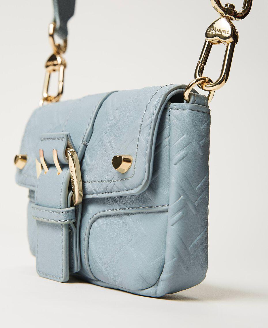 Small Rebel shoulder bag with logo Blue ash Woman 202TB7162-02