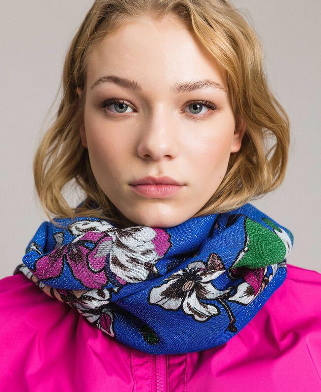 Lurex-Viskose-Schal mit Blumenmuster Motiv Windblumen Kornblumenblau Frau 191TA4368-0S