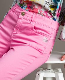 Skinny trousers with rhinestone heart Fluorescent Pink Woman 191MT2446-04