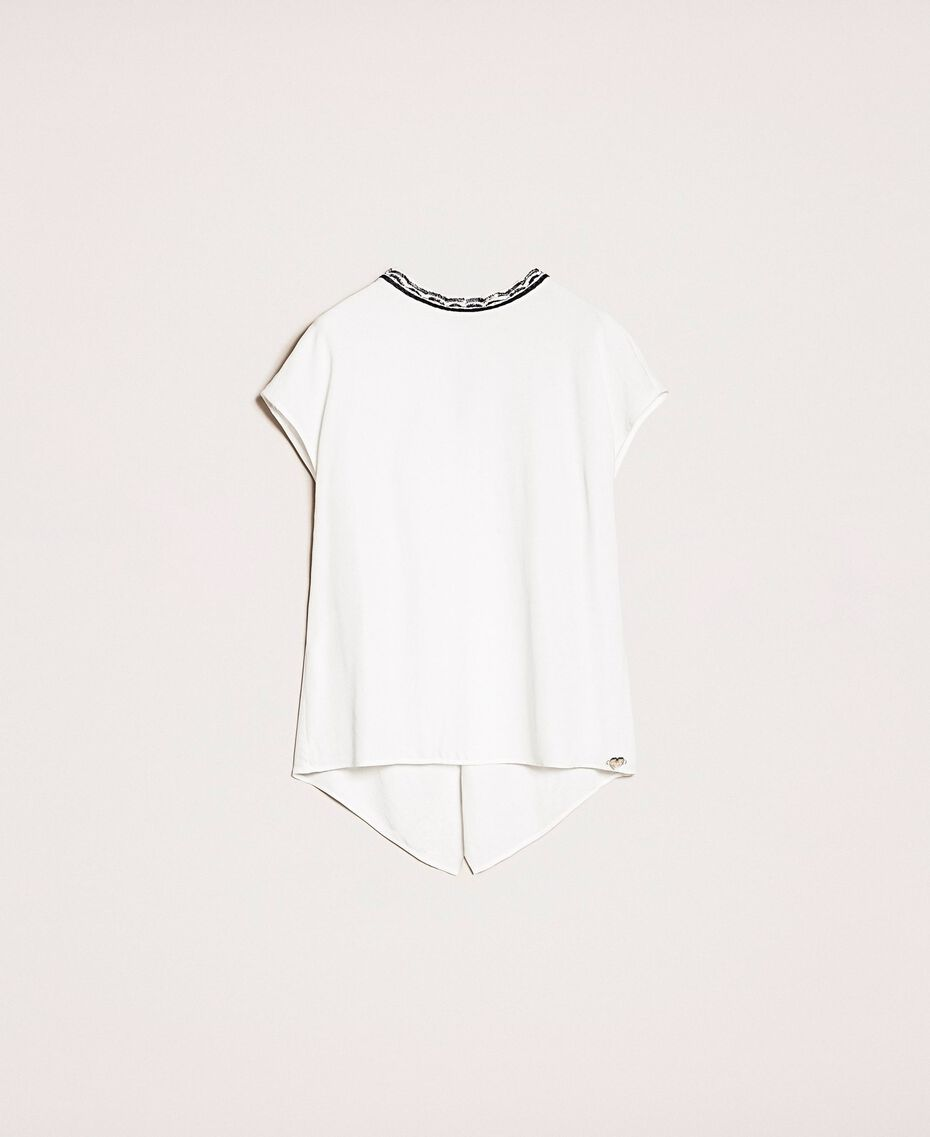 Asymmetric top with embroidery Black Woman 201LB25EE-0S