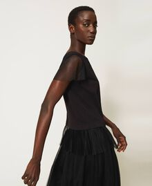 T-shirt with pleated flounce Black Woman 202MP2391-05