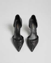 "Animal print leather court shoes ""Anthracite"" Grey Python Print Woman 192TCP150-05"