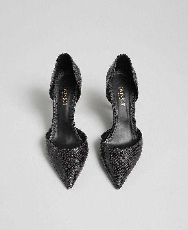 Escarpins en cuir avec imprimé animalier Imprimé Python Rose Mousse Femme 192TCP150-05