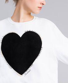 Sweat en coton avec cœur floqué Blanc Femme PA82CD-04