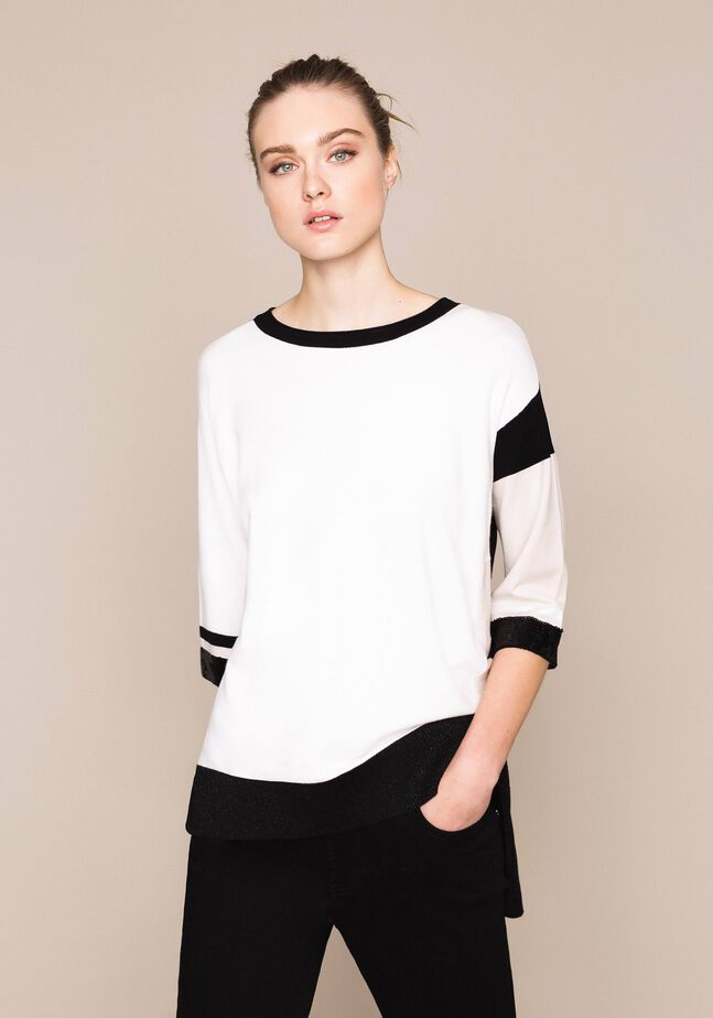 Color-Block-Pullover mit Pailletten