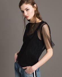 Blouse en tulle avec patch brodé Noir Femme 191MP2131-01