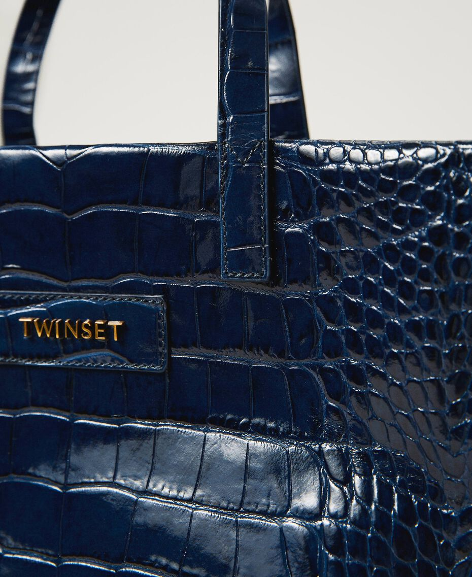 "Large leather Twinset Bag shopper ""True Navy"" Blue Croc Print Woman 202TB7110-03"