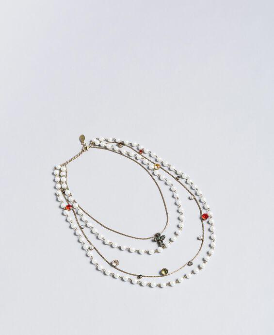 Mehrgliedrige Halskette mit Perlen und Edelsteinen