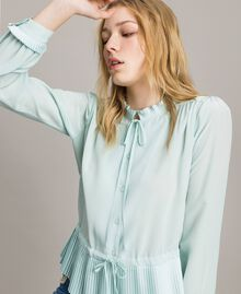Chemise plissée en soie mélangée Aigue-marine Femme 191TP2140-04