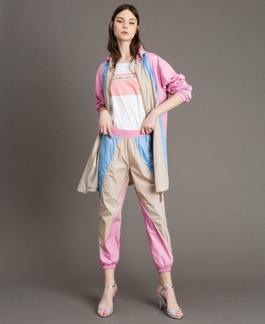 Pantaloni jogging in nylon color block Porcellana Beige Donna 191MP2093-0T